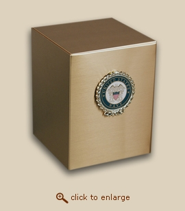 Bronze Cube Military Cremation Urn with Navy Wreath