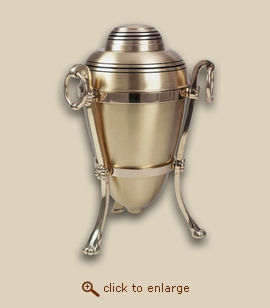 Brushed Brass Cremation Urn with Stand - Companion