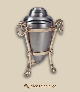 Brushed Pewter Cremation Urn with Stand - Companion