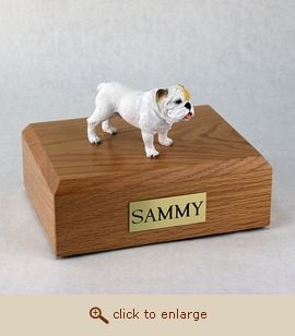 Bull, White - Dog Figurine Wood Pet Urn
