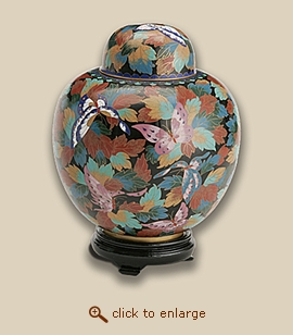 Butterfly Cloisonne Art Cremation Urn - Large