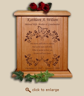Butterfly with Poem Wood Cremation Urn