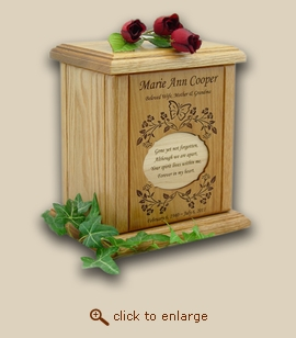 Butterfly Vines with Engraved Recessed Poem Wood Cremation Urn