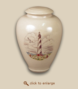 Carolina Lighthouse Hand Thrown Porcelain Cremation Urn