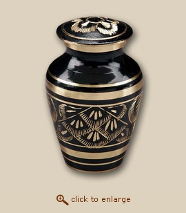 Classic Black Radiance Cremation Urn - Keepsake