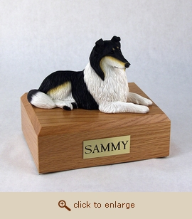 Collie - Dog Figurine Wood Pet Urn