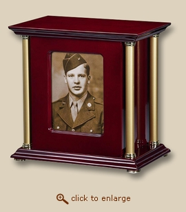 Colonial Photo Wood Cremation Urn