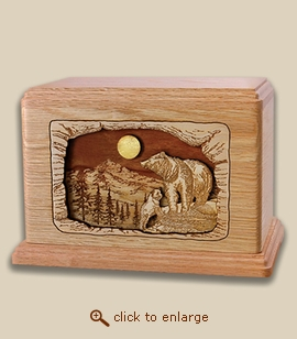 Companion - 3D Inlay Bears Wood Art Cremation Urn