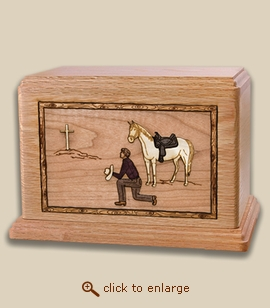 Companion - 3D Inlay Cowboy Wood Art Cremation Urn
