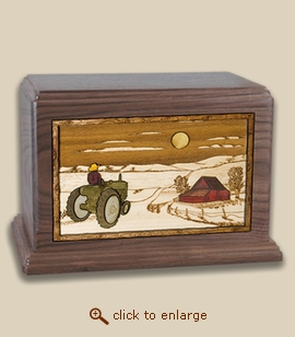 Companion - 3D Inlay Farm and Tractor Wood Art Cremation Urn