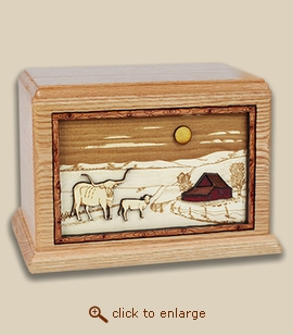Companion - 3D Inlay Farm Wood Art Cremation Urn