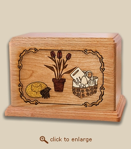 Companion - 3D Inlay Gardening Wood Art Cremation Urn