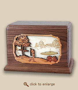 Companion - 3D Inlay Golf Wood Art Cremation Featured Urn