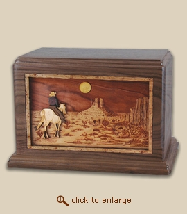 Companion - 3D Inlay Horse Moon Wood Art Cremation Urn
