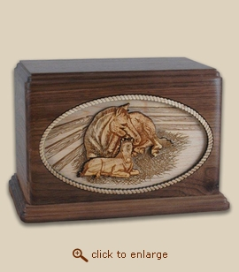 Companion - 3D Inlay Horses Mothers Love Wood Art Cremation Urn