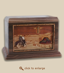 Companion - 3D Inlay Motorcycle Wood Art Cremation Urn