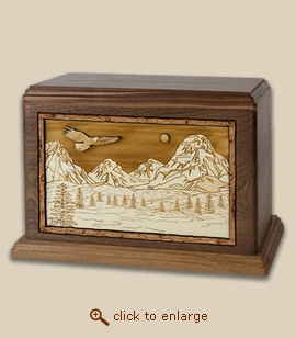 Companion - 3D Inlay Mountain Eagle Wood Art Cremation Urn