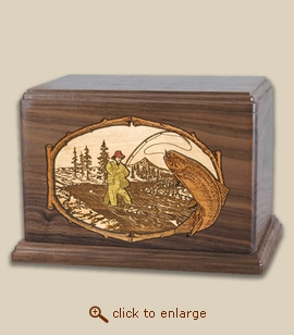 Companion - 3D Inlay Stream Trout Fishing Wood Cremation Urn