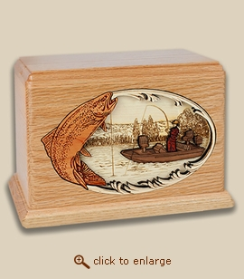 Companion - 3D Inlay Trout Fishing Wood Art Cremation Urn