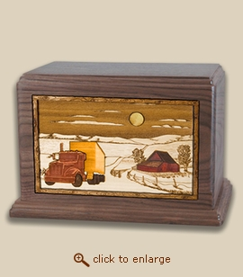 Companion - 3D Inlay Trucker Wood Art Cremation Urn