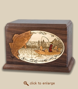 Companion - 3D Inlay Walleye Fishing Wood Art Cremation Urn