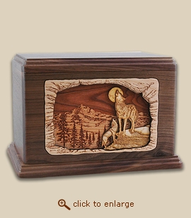 Companion - 3D Inlay Wolves Serenade Wood Art Cremation Urn