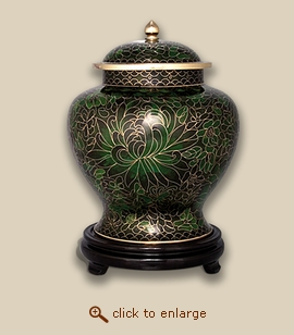 Companion Emerald Green Cloisonne Art Cremation Urn