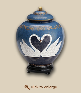 Companion Two Swans Cloisonne Cremation Urn