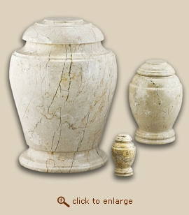 Creme Travertine Vase Marble Cremation Urn - XLarge