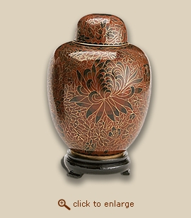 Crimson Cloisonne Art Pet Urn