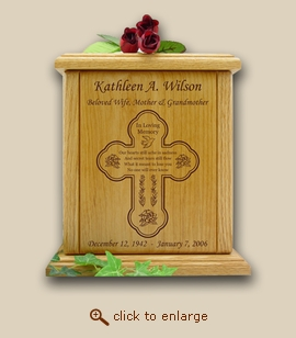 Cross and Losing You Poem Wood Cremation Urn