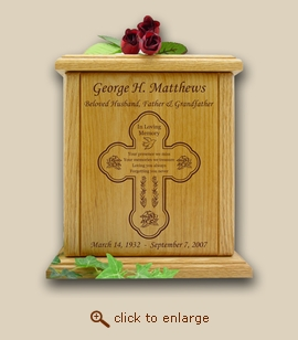 Cross and Never Forget Poem Wood Cremation Urn