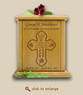 Cross and Tears Poem Wood Cremation Urn
