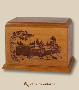 Deep Laser Lake and Boat Wooden Cremation Urn