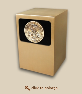 Dignity Panel Bronze Cremation Urn - Army Medallion