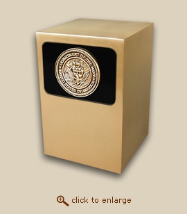Dignity Panel Bronze Cremation Urn - Navy Medallion