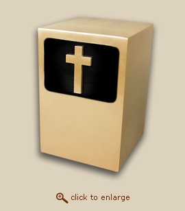 Dignity Panel Bronze Cremation Urn with Cross