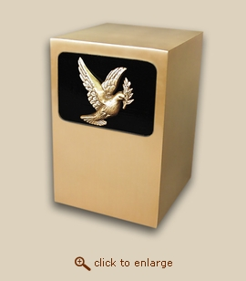 Dignity Panel Bronze Cremation Urn with Dove