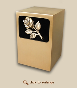 Dignity Panel Bronze Cremation Urn with Rose