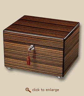 Ebony Striped Wooden Chest Cremation Urn