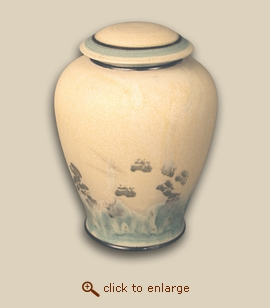 Ecru Hand Thrown Porcelain Cremation Urn