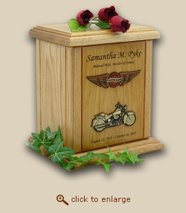 Circle and Wings Forever Riding Motorcycle Wood Cremation Urn