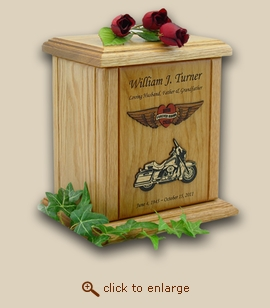 Heart and Wings Forever Riding Motorcycle Wood Cremation Urn