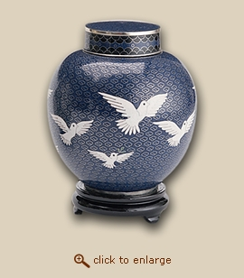 Eternal Doves Cloisonne Pet Urn