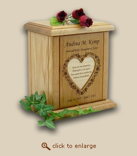Floral Heart with Engraved Recessed Poem Wood Cremation Urn