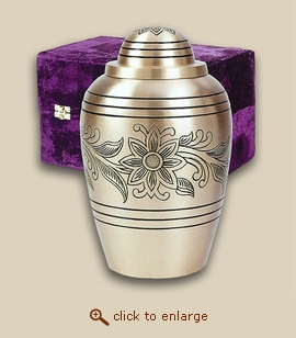 Golden Bouquet Brass Cremation Urn