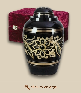 Golden Ebony Bouquet Brass Cremation Urn