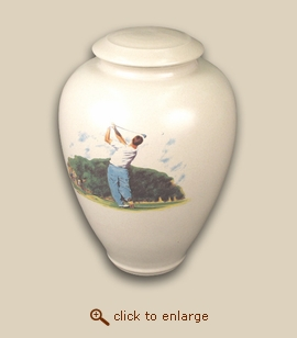 Golfer Hand Thrown Porcelain Cremation Urn