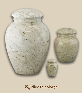 Grecian Travertine Vase Marble Pet Urn - Petite