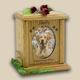 Heart & Oval Photo Wood Pet Cremation Urn - Large